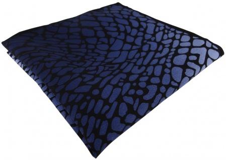 TigerTie Seideneinstecktuch in marine royal blau schwarz gemustert - 100% Seide