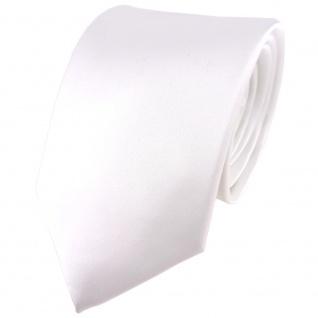 TigerTie Satin Seidenkrawatte in weiss einfarbig Uni - Krawatte 100% Seide
