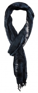 TigerTie Designer Schal blau mit petrolstich grau schwarz gemustert mit Fransen