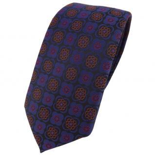 Schmale TigerTie Krawatte in marine kupfer rot schwarz gemustert - Schlips