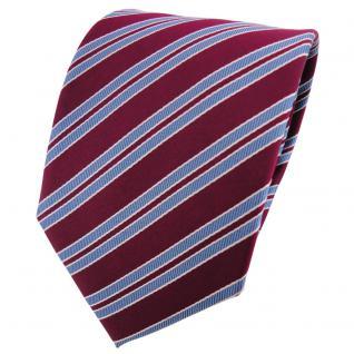 Satin Seidenkrawatte bordeaux weinrot blau silber gestreift - Krawatte Seide Tie