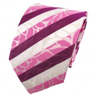 TigerTie Seidenkrawatte magenta rosa pink weiß gestreift - Krawatte Seide Tie