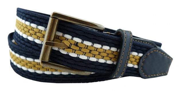 TigerTie - Stretchgürtel blau dunkelblau ocker weiß gestreift - Bundweite 100 cm