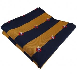 Einstecktuch in gold goldbraun dunkelblau gestreift mit Wappen - Tuch Polyester