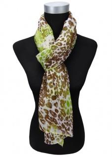 Gr TigerTie Chiffon Schal in grün gelbgrün braun weiß gemustert 180 x 50 cm