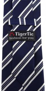 TigerTie Designer Seidenkrawatte dunkelblau blau weiss gestreift -Krawatte Seide - Vorschau 3