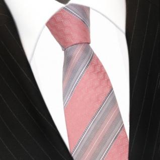 Mexx Seidenkrawatte rosa grau silber gestreift - Krawatte Seide Tie