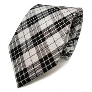 TigerTie Designer Seidenkrawatte schwarz anthrazit grau silber kariert
