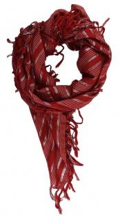 Halstuch in rot weinrot silber grau gestreift mit Fransen - Gr. 95 x 95 cm