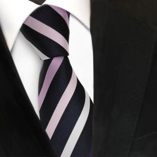 TigerTie Designer Seidenkrawatte in lila flieder rosa silber royal gestreift