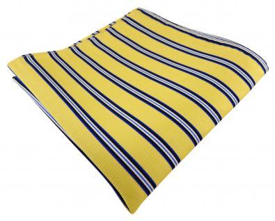 TigerTie Seideneinstecktuch gelb blau schwarz weiß gestreift - Gr. 30 x 30 cm