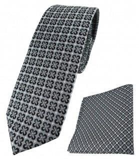 schmale TigerTie Krawatte + Einstecktuch in anthrazit silber schwarz gemustert