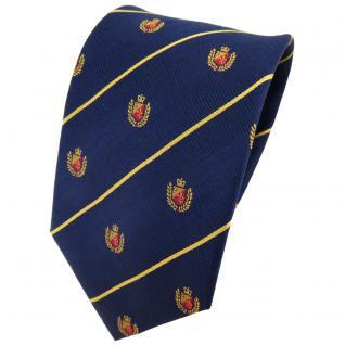TigerTie Seidenkrawatte blau dunkelblau gold gestreift - Wappen rot gold