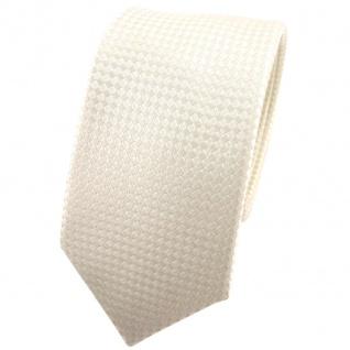schmale Hochzeit Seidenkrawatte creme kleine vierecke Uni - Krawatte 100% Seide