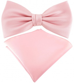 TigerTie Satin Fliege + TigerTie Einstecktuch in rosa Uni Einfarbig + Box