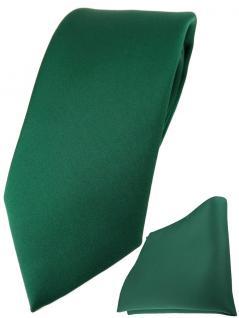 TigerTie Designer Krawatte + TigerTie Einstecktuch in moosgrün einfarbig uni