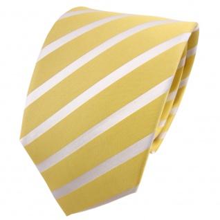 TigerTie Seidenkrawatte gelb blassgelb weiß gestreift - Krawatte Seide Binder