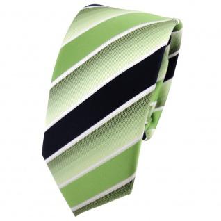 Schmale TigerTie Krawatte grün hellgrün dunkelblau weiß gestreift - Binder Tie