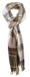 Schal in braun kupfer beige gold kariert mit kleinen Fransen - Gr. 180 x 50 cm