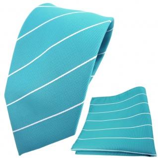TigerTie Designer Krawatte + Einstecktuch türkis türkisblau silber gestreift