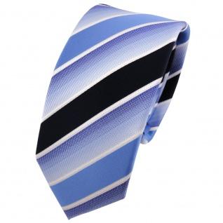 Schmale TigerTie Krawatte blau hellblau dunkelblau weiß gestreift - Binder Tie