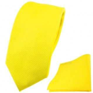 schmale TigerTie Krawatte + Einstecktuch gelb leuchtgelb neongelb Uni Rips