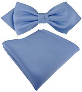 vorgebundene TigerTie Spitzfliege + Einstecktuch in pastellblau einfarbig + Box