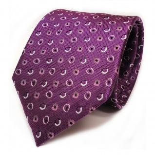 Designer Seidenkrawatte lila violett grau silber schwarz gepunktet - Krawatte