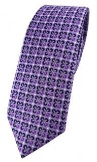 schmale TigerTie Designer Krawatte in lila silber schwarz gemustert