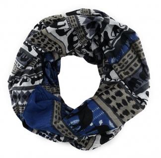Schal in blau anthrazit grau braun gestreift mit Tiermuster - Gr. 180 cm x 50 cm