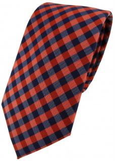 Modische TigerTie Designer Krawatte in orange marine dunkelblau kariert