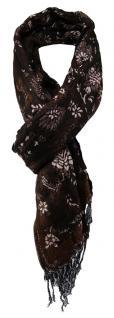 Schal dunkelbraun braun schwarz grau gemustert - Gr. 200 x 40 bis 60 cm dehnbar