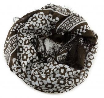 Halstuch in dunkelbraun grau gemustert mit dünnen Fransen - Größe 100 x 100 cm