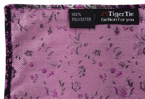 TigerTie Designer Einstecktuch in magenta rosa grausilber geblümt gemustert - Vorschau 2
