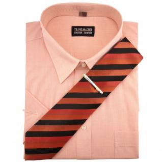 TRAVELMASTER Business Herrenhemd lachs - Hemd Gr.41/42 L kurzarm Krawatte Nadel