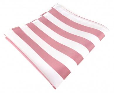 TigerTie Einstecktuch in rosa weiss gestreift - Stecktuchgröße 30 x 30 cm