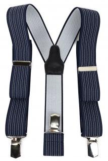 TigerTie Unisex Hosenträger mit 3 extra starken Clips - marine silber gestreift