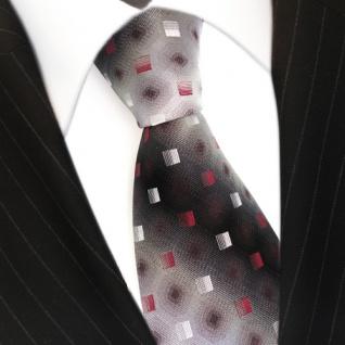 Designer Seidenkrawatte rot anthrazit grau silber schwarz gemustert - Krawatte - Vorschau 3