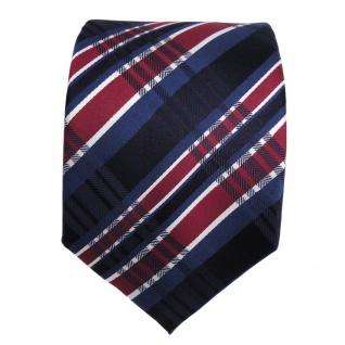 TigerTie Seidenkrawatte blau royal rot silber gestreift - Krawatte Seide Binder - Vorschau 3