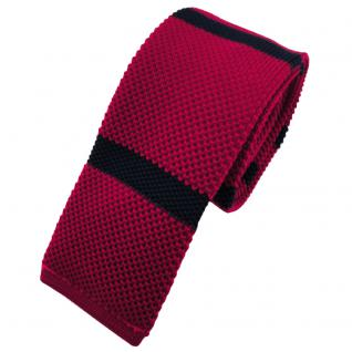 Schmale Strickkrawatte rot blau dunkelblau gestreift - Krawatte Polyester Tie