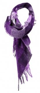 Designer Halstuch in violett silber grau gemustert mit Fransen - Gr. 90 x 90 cm