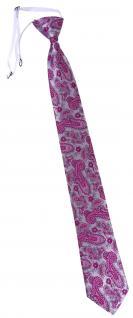TigerTie Security Sicherheits Krawatte in magenta silber Paisley gemustert