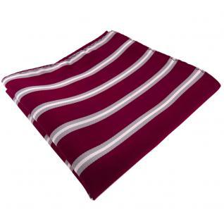 TigerTie Einstecktuch in rot violett bordeaux grau silber gestreift