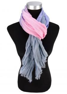 Schal in grau violett rosa gemustert- Gr. 180 x 50 cm - Tuch Baumwolle/Leinen