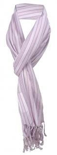 Schal in rosa grau gestreift mit Fransen - Gr. 180 x 50 cm