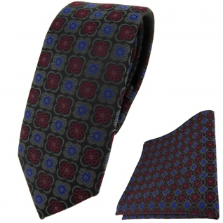 schmale TigerTie Krawatte +Einstecktuch anthrazit weinrot blau schwarz gemustert - Vorschau