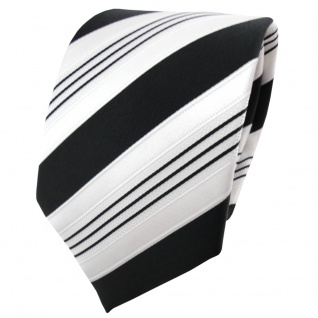 TigerTie Satin Krawatte schwarz anthrazit weiß silber gestreift - Binder Schlips