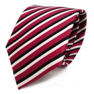 TigerTie Designer Krawatte - Schlips Binder rot schwarz weiss gestreift - Tie