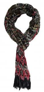 gecrashter TigerTie Schal in rosa altrosa grau schwarz gemustert - 180 x 50 cm