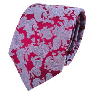 Designer Seidenkrawatte rot rubinrot blau Paisley gemustert - Krawatte Seide